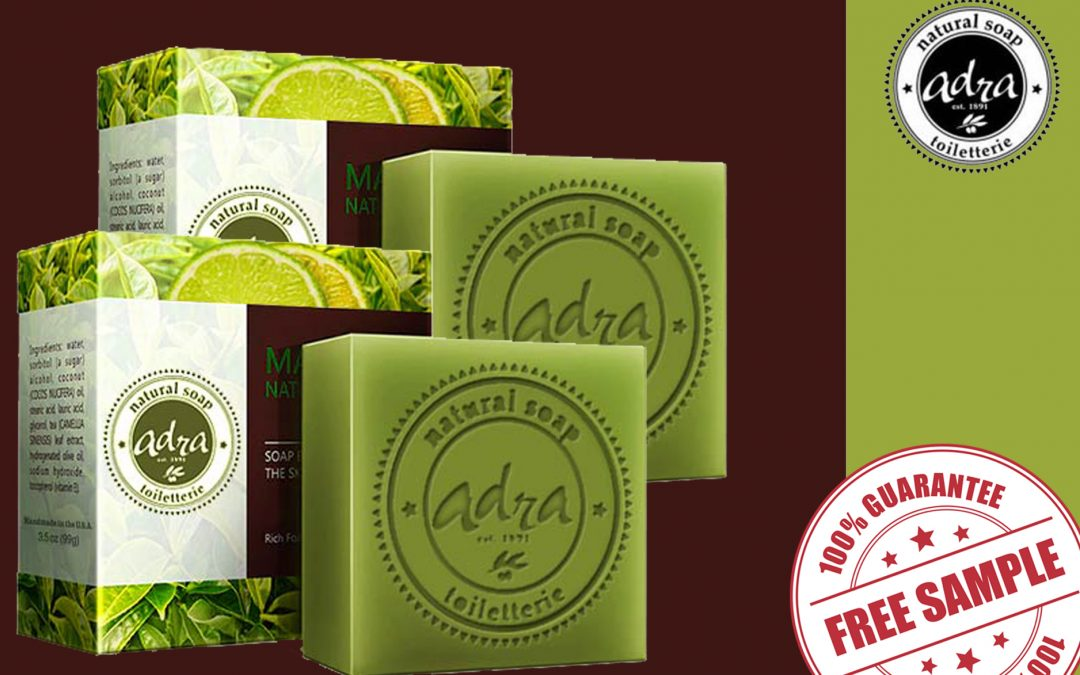 FREE SAMPLE OF GREEN TEA LIME SOAP OF ADRA