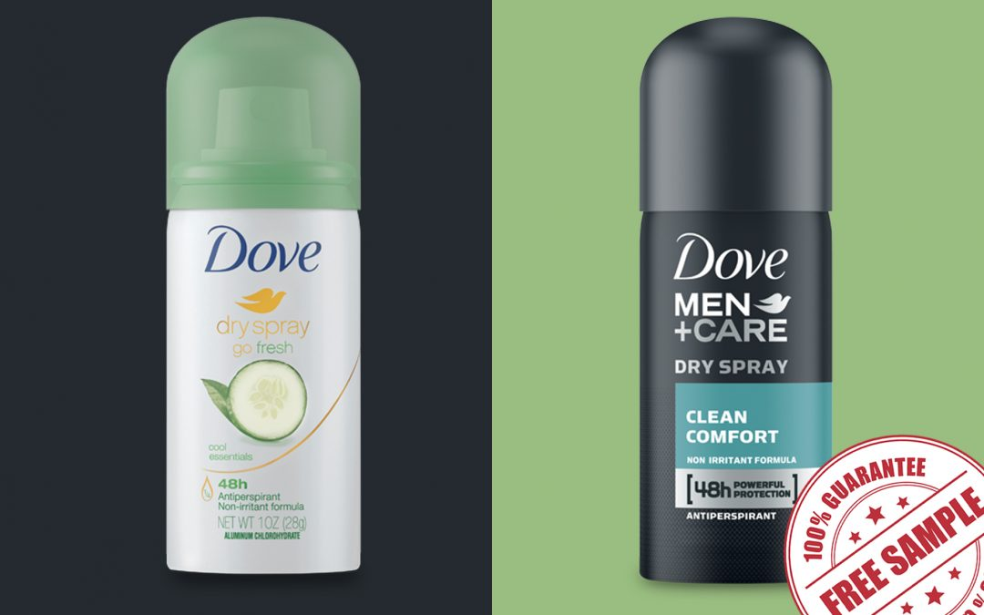 FREE SAMPLE OF DOVE DRY SPRAY ANTIPERSPIRANT DEODORANT